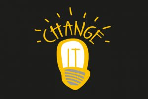 picture of a hand drawn light bulb with the word change on top
