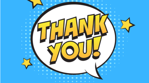 image of a speech bubble and stars saying thank you