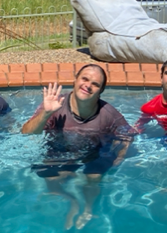 Jiha at the pool