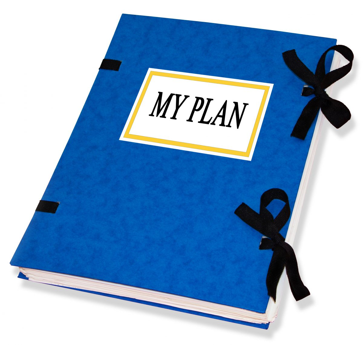 A blue book with the My Plan on the front