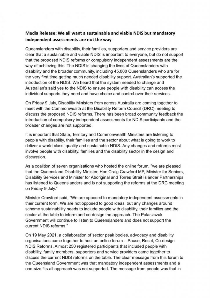 Media release page 1