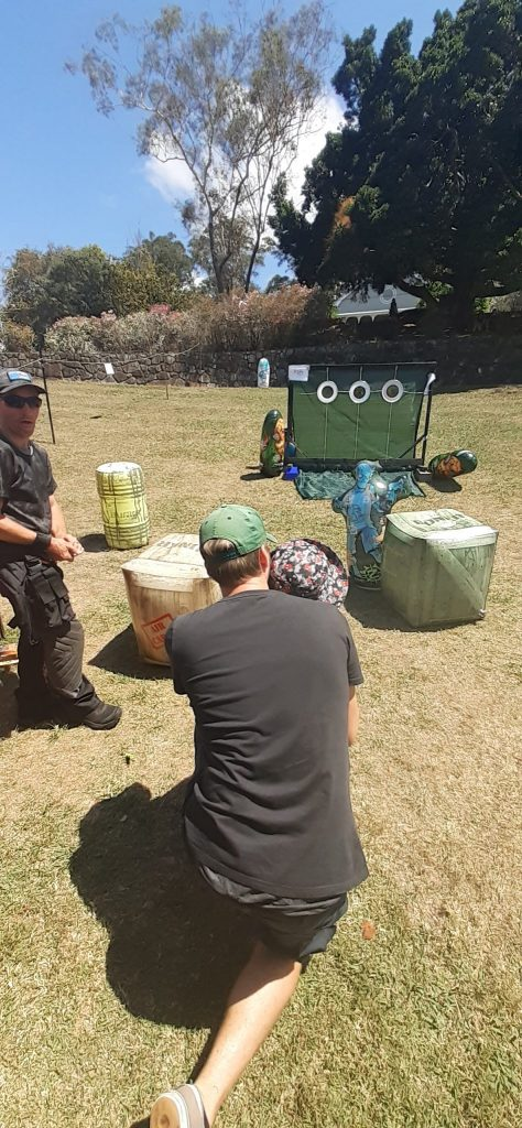 Photo of a player aiming at a target