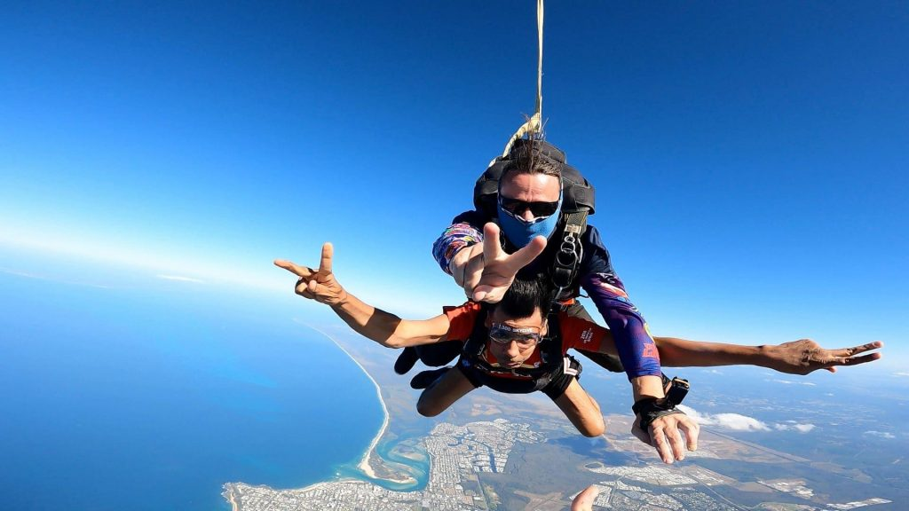 Bruno parachuting down.